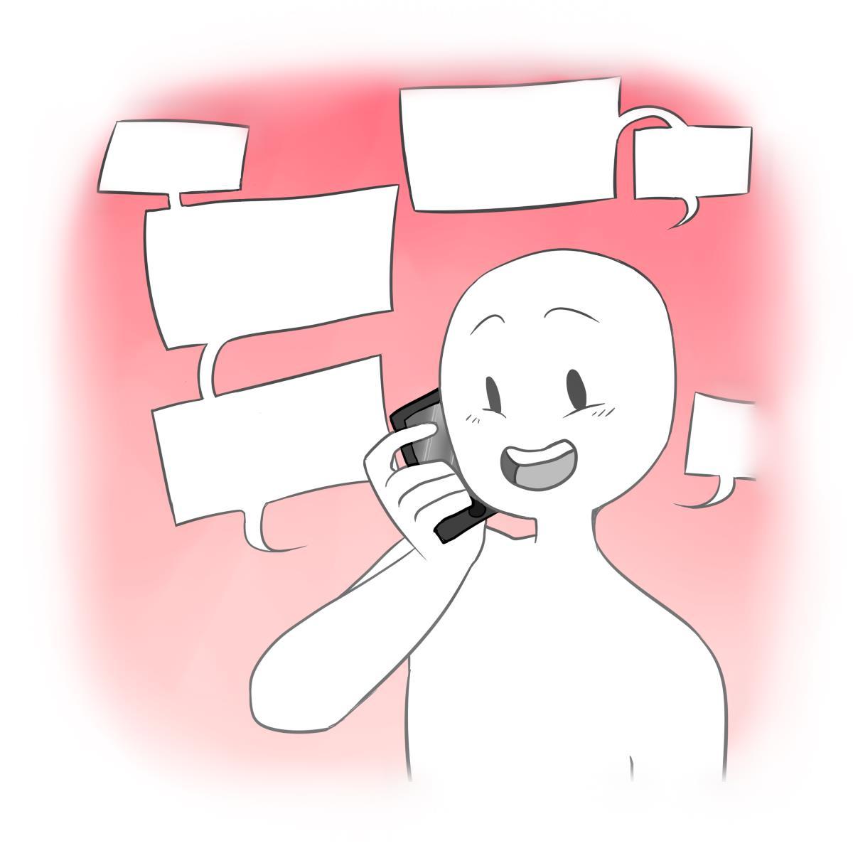 En person som snakker på telefonen med mange snakkebobler rundt seg